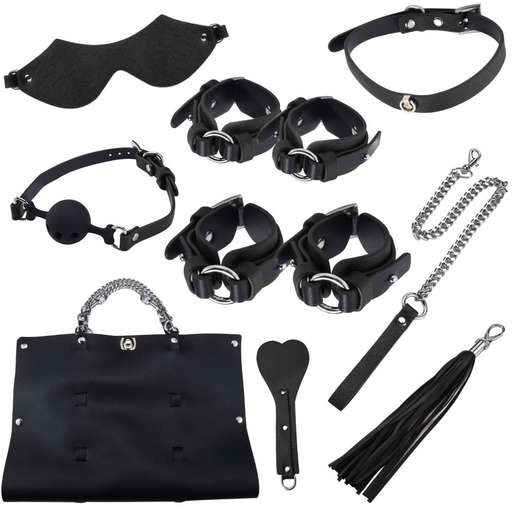 Kismet168 10PCS Women Couples Leather Handcuffs Set Toy with Bag-Adult Six-Toys for Coseplay Game Beginner (Black, with Bag)
