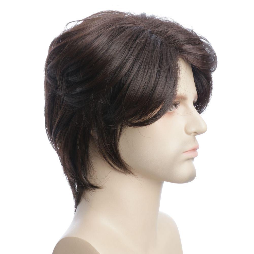 Karlery Mens Short Curly Fluffy Dark Brown Wig Halloween Costume Wig Party Cosplay Wig