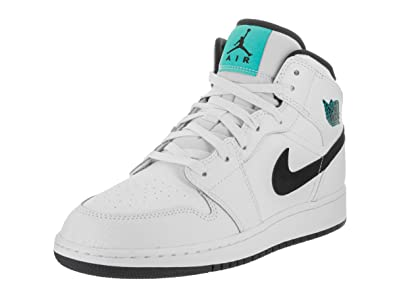 Nike Boy's Air Jordan 1 Mid Basketball Shoe (GS) White/Black-White