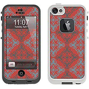 Skin Decal for LifeProof Apple iPhone 5 Case - Victorian Vintage Blue and Grey on TerraCotta