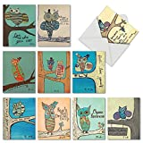 M6630OCBsl Life'S A Hoot: 10 Assorted Blank All-Occasion Note Cards Featuring Child Inspired Drawings of Owls Paired with Motivational Words, w/White Envelopes.