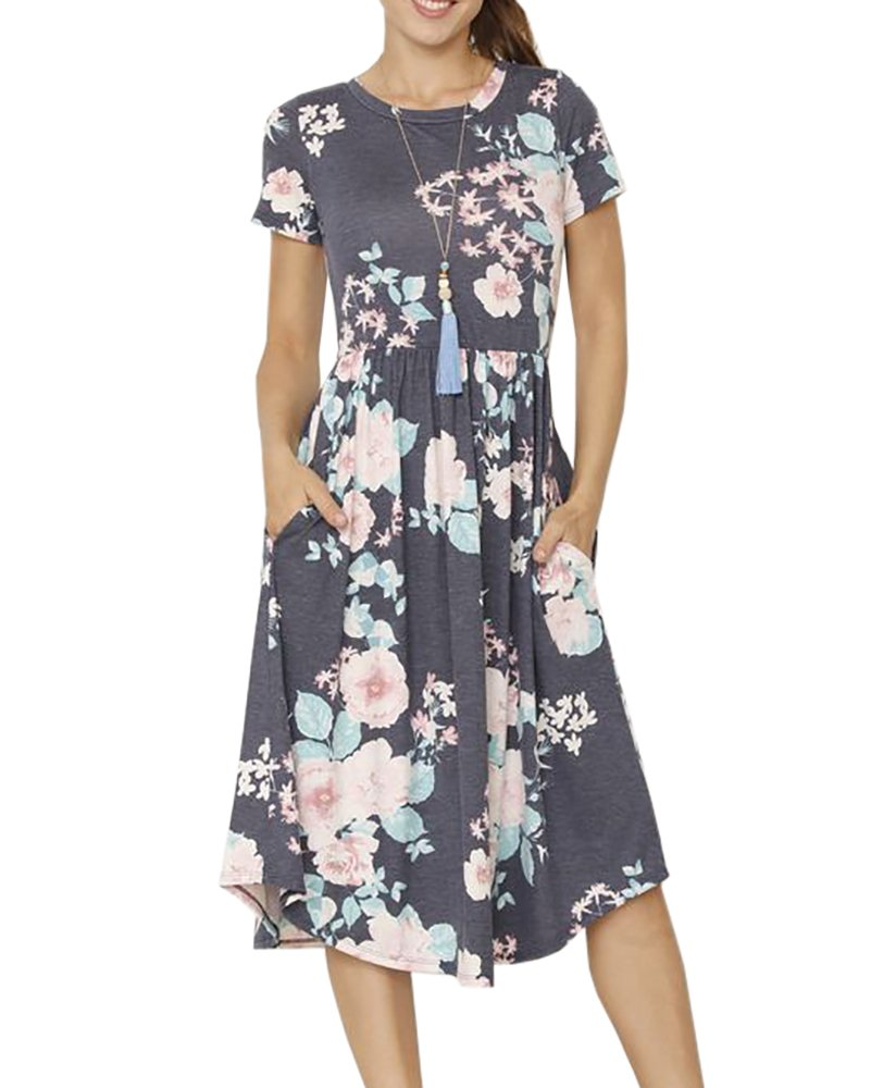 Foshow Womens Short Sleeve Dresses Floral Empire Waist Midi Vintage Summer Dress with Pockets,Navy,Large