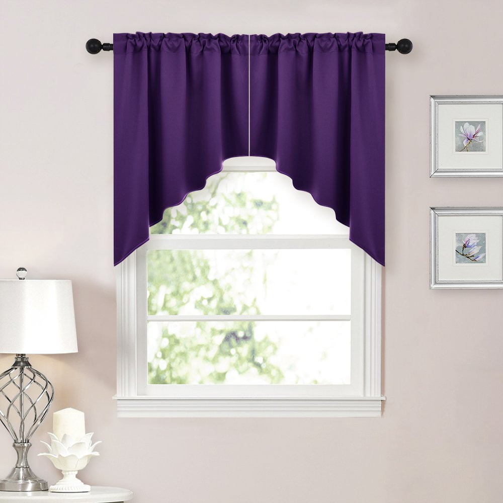 NICETOWN Half Window Rod Pocket Kitchen Tier Curtains Royal Purple