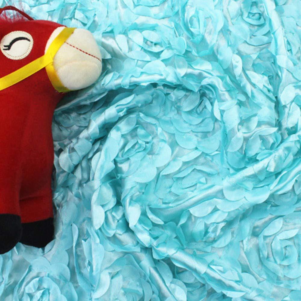 Weiliru Newborn Baby Boy Girl Rose Soft Blanket Photography Props Wrap Bebe Swaddle Blanket (Beige/Blue)