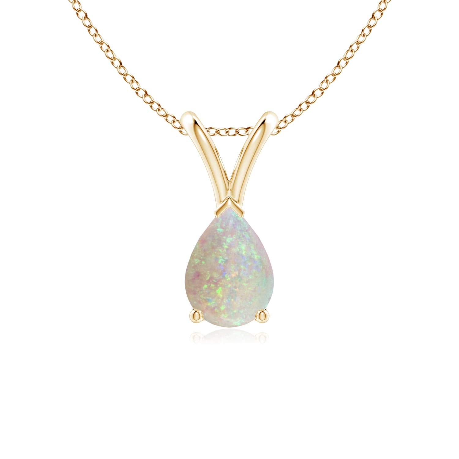 7x5mm Opal V-Bale Pear-Shaped Natural Opal Solitaire Pendant
