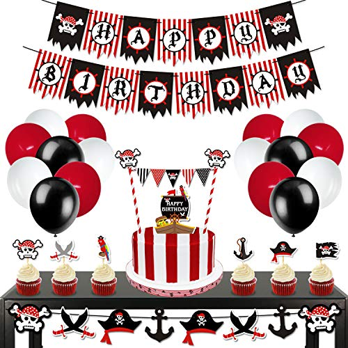 Nautical Birthday Party Ideas (Levfla 70 Pack Pirate Birthday Party Decorations Kits- Happy B-Day Banner,Cake Toppers,Cupcake Sticks,Balloons Set Kids Photo Props Sea Sailing Nautical Party Ideas)