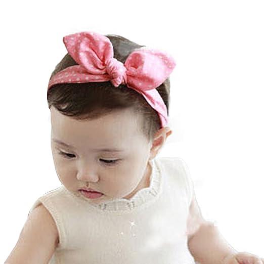 Voberry Lovely Baby Bunny Ear Girl Headwear Bow Elastic Knot Headbands (A) e68099b4b35