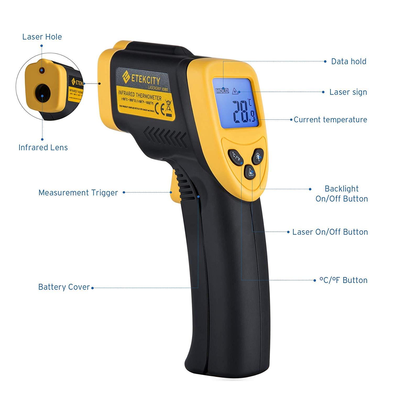 Etekcity Lasergrip 1080 Termómetro Infrarrojo Láser, -50 ℃ a 550℃, Medidor IR Digital sin Contacto, Pistola de Temperatura, LCD Iluminación, ...