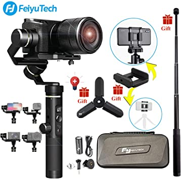 Extension Bar Tripod Adapter Feiyu G6 Plus 3-Axis Brushless Handheld Gimbal Stabilizer Splash-Proof 800g Payload 12 Hours Running Time for Smartphone//Action Camera Gopro//Digital Cameras