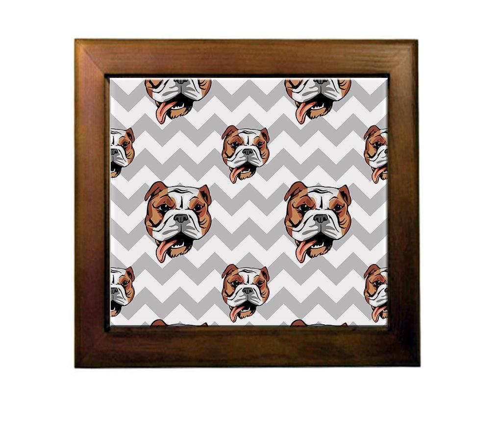 Bulldog Dog Gray Zigzag Ceramic Tile Backsplash Accent Mural best