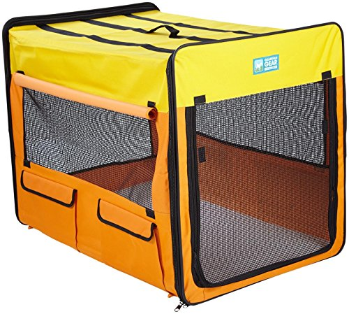 Guardian Gear Collapsible Crates for Dogs and Pets  - Extra Small, Purple/Turquoise; Small, Pink/Green; Medium, Lime Green/Blue; Large, Orange/Yellow; Extra Large, Red/Blue (Pink Guardian Gear)