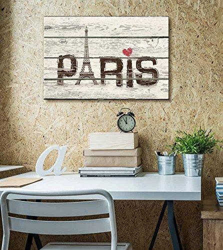 Paris Woodcut Print with Pink Hear Artworkt Rustic