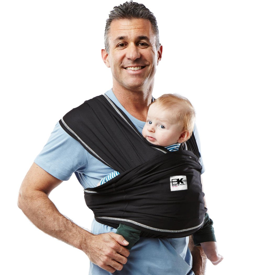 Baby K tan Active Baby Wrap Carrier, Infant and Child Sling – Simple Wrap Holder for Babywearing – No Rings or Buckles – Carry Newborn up to 35 Pound, Black, Large Women 16-20 Men 43-46