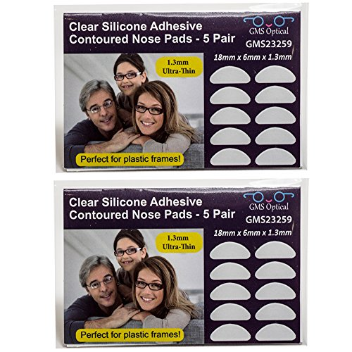 GMS Optical® 1.3mm Ultra-Thin Anti-Slip Adhesive Contoured Silicone Eyeglass Nose Pads with Super Sticky Backing - 5 Pair (Clear - 2 Pack)