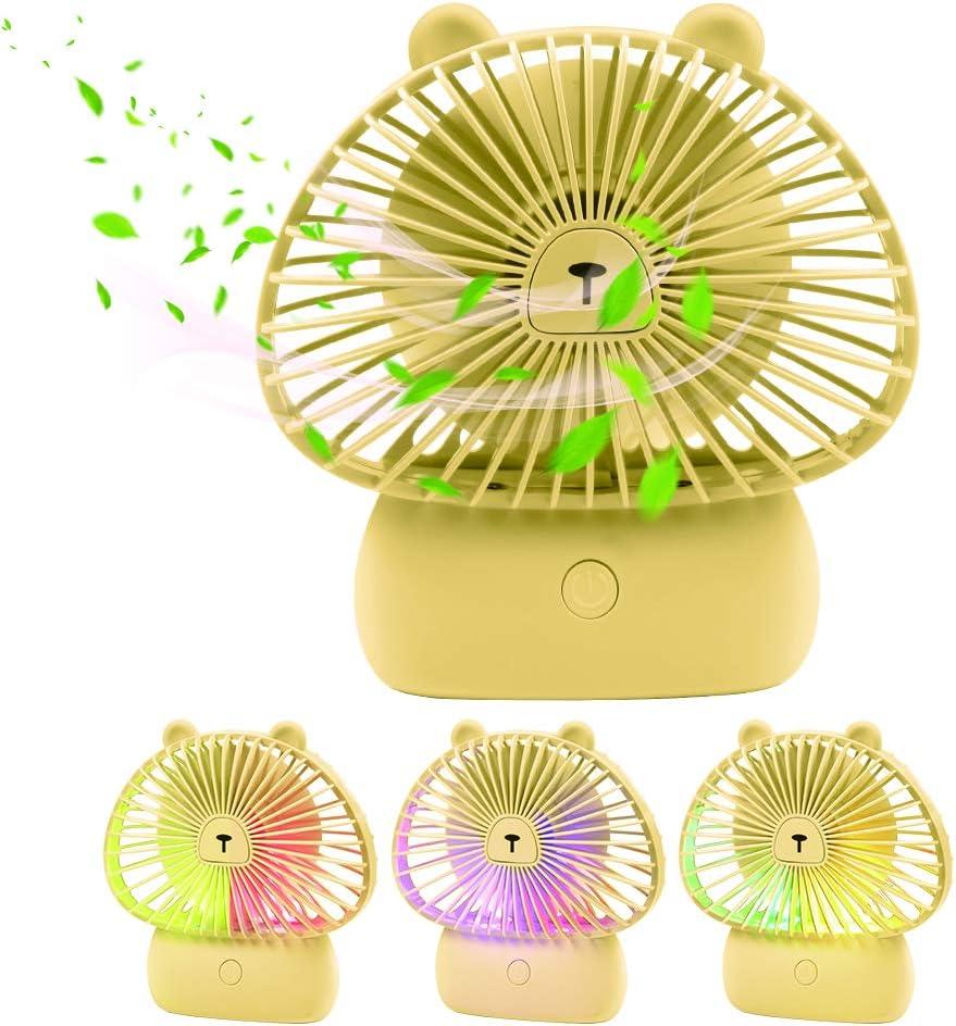 Qualife USB Desk Fan, Mini Personal Fan Battary Powered, 3 Speed Small Fan for Desk Table Home Office,Gift Idea for Kids Girls Woman.