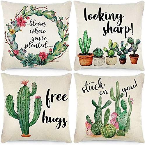 Fundas de almohada de 45 x 45 cm, diseño de cactus, acuarela