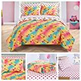 Full Size Emoji Comforter Set Emoji Girls Complete 7 Piece Reversible Bedding Comforter Set - Full