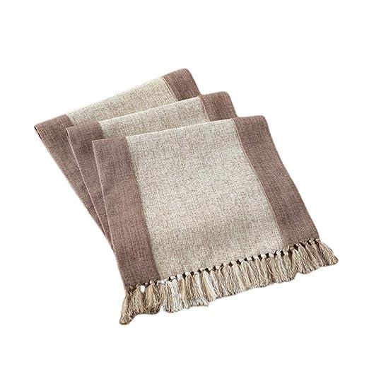 Vosarea Camino de Mesa de algodón con borlas decoración de Comedor ...