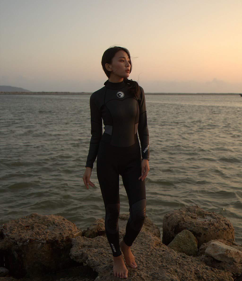 MILIMIEYIK Wetsuit Women, Womens Long Sleeve 1.5MM Neoprene Diving Jacket Front Zipper Wetsuit Top Warm Protection Black by MILIMIEYIK (Image #5)