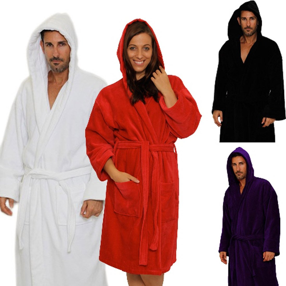 Terry Velour Hooded Bathrobe %100 Cotton Men's Women's Robe Best Gift for Her
