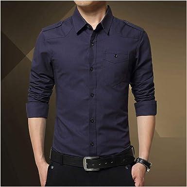Disinfom Epaulette Camisa de Manga Completa para Hombre, Estilo Militar, 100% algodón, Color Verde Militar - - 3X-Large: Amazon.es: Ropa y accesorios