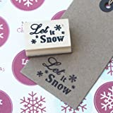 Let It Snow With Small Snowflake Design Wooden Stamp, Great For DIY Craft Ideas.