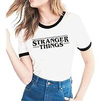 Yuanu Donna Confortevole Traspirante Manica Corta Girocollo Slim T-Shirt Lovers Grandi Dimensioni Casual Magliette con Tema Stampa A Proposito di Stranger Things