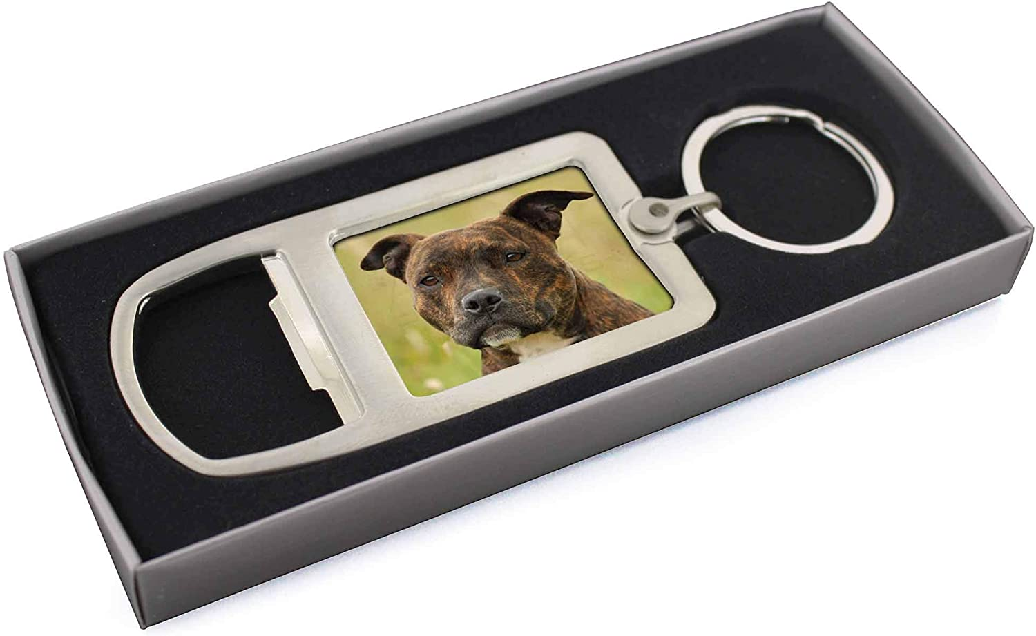 STAFFORDSHIRE BULL TERRIER ID TAG CHROME PET TAG HAND OR MACHINE ENGRAVED