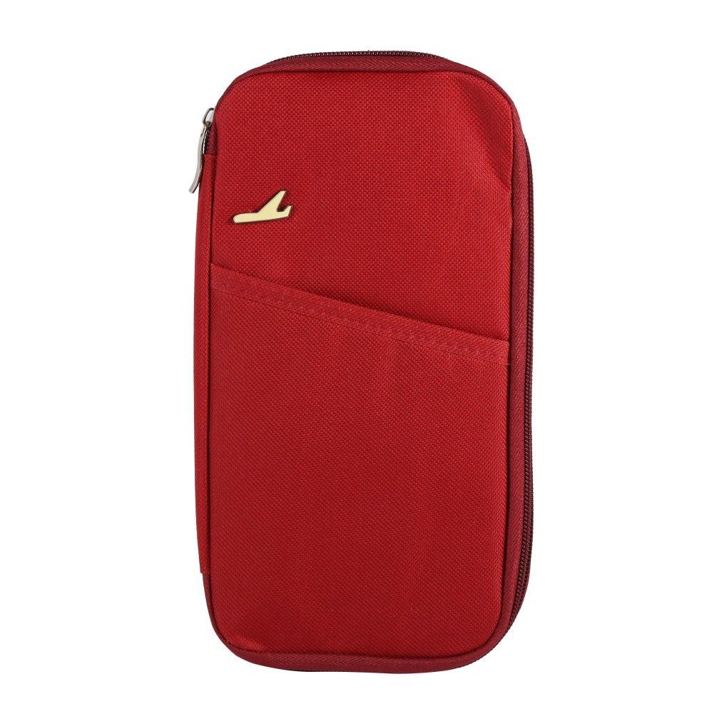sparklia旅行walletpassport旅行IDクレジットカードホルダーお金オーガナイザーウォレット財布ハンドバッグ&パスポートホルダー レッド SparkLia B07BX8TB6Z ワインレッド ワインレッド