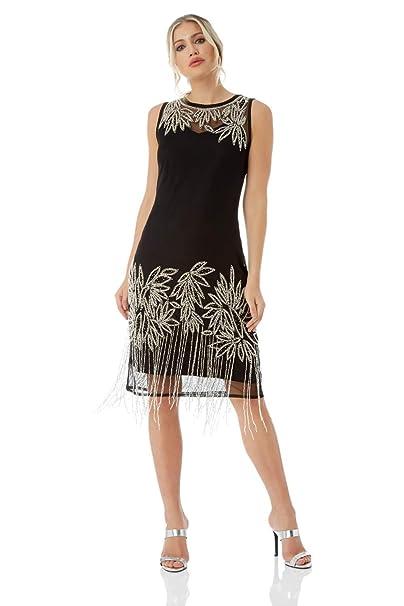 8dbcecc0970 Roman Originals Women Embellished Flapper Little Black Dress - Ladies Great  Gatsby 1920 s Art Deco Charleston