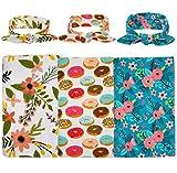 habibee Newborn Swaddle Blanket Headband With Bow Set Baby Receiving Blankets (B Floral 3 Packs)