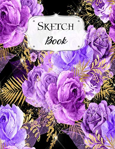 Sketch Book: Flower | Sketchbook | Scetchpad for Drawing or Doodling | Notebook Pad for Creative Artists | Purple Bouquet Black