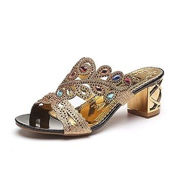 GTUFDRG Strass Hausschuhe Frauen Mode Sandalen Sommer Schuhe Slip On Schuhe Hausschuhe Black 5