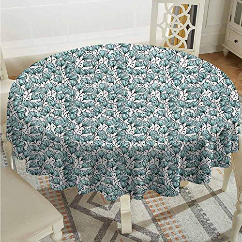 XXANS Round Solid Polyester Tablecloth,Floral,Doodle Style Flowers with Petals in Blue Tones Bedding Plants Garden Art,Table Cover for Home Restaurant,67 INCH,Seafoam White Black