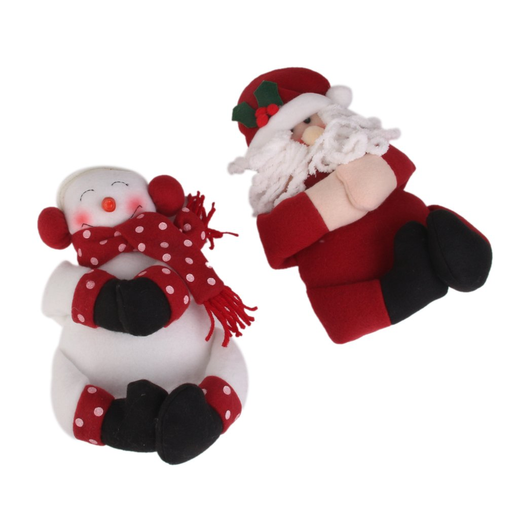 2Pcs Christmas Wine Bottle Gift Cover Towel Holder Snowman Santa Decoration Generic AEQW-WER-AW134012