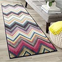 22x6 Black Pink Yellow Horizontal V Shaped ZigZag Printed Area Rug, Indoor Geometric Jagged Lines Pattern Living Room Rectangle Carpet, Graphical Chevron Themed, Soft Synthetic Fancy Rich Textures