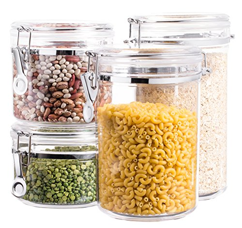 Bellemain 4 Piece Airtight Acrylic Canister Set , Food Storage Container Clear Acrylic Canister Set