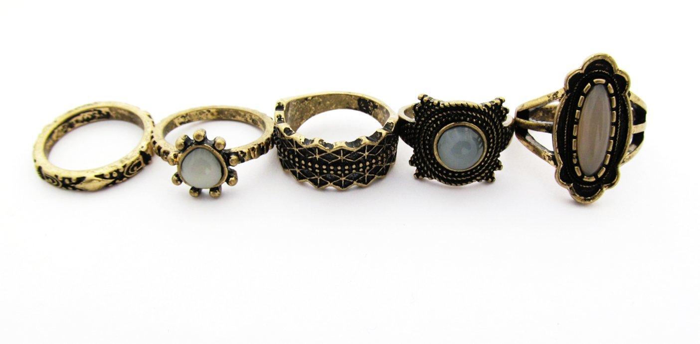 Vintage Carve Pattern Design Multi Stone Boho Ring Pack (7)