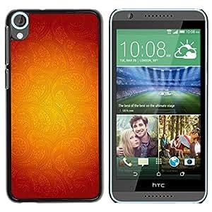Be Good Phone Accessory // Dura Cáscara cubierta Protectora Caso Carcasa Funda de Protección para HTC Desire 820 // Gold Floral Pattern Red Abstract Warm