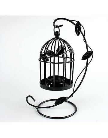 Emorias 1 Pcs Candelabro Retro Forma de Jaula de Pájaros Metal Elegante Escritorio Decoracion Creativo Portavelas
