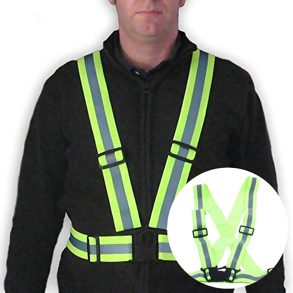 TOOGOO Chaleco de seguridad reflectante Cinturon cruzado de visibilidad de Correa reflectante Banda arnes faja cinturon de chaleco de correr, verde: Amazon.es: Ropa y accesorios