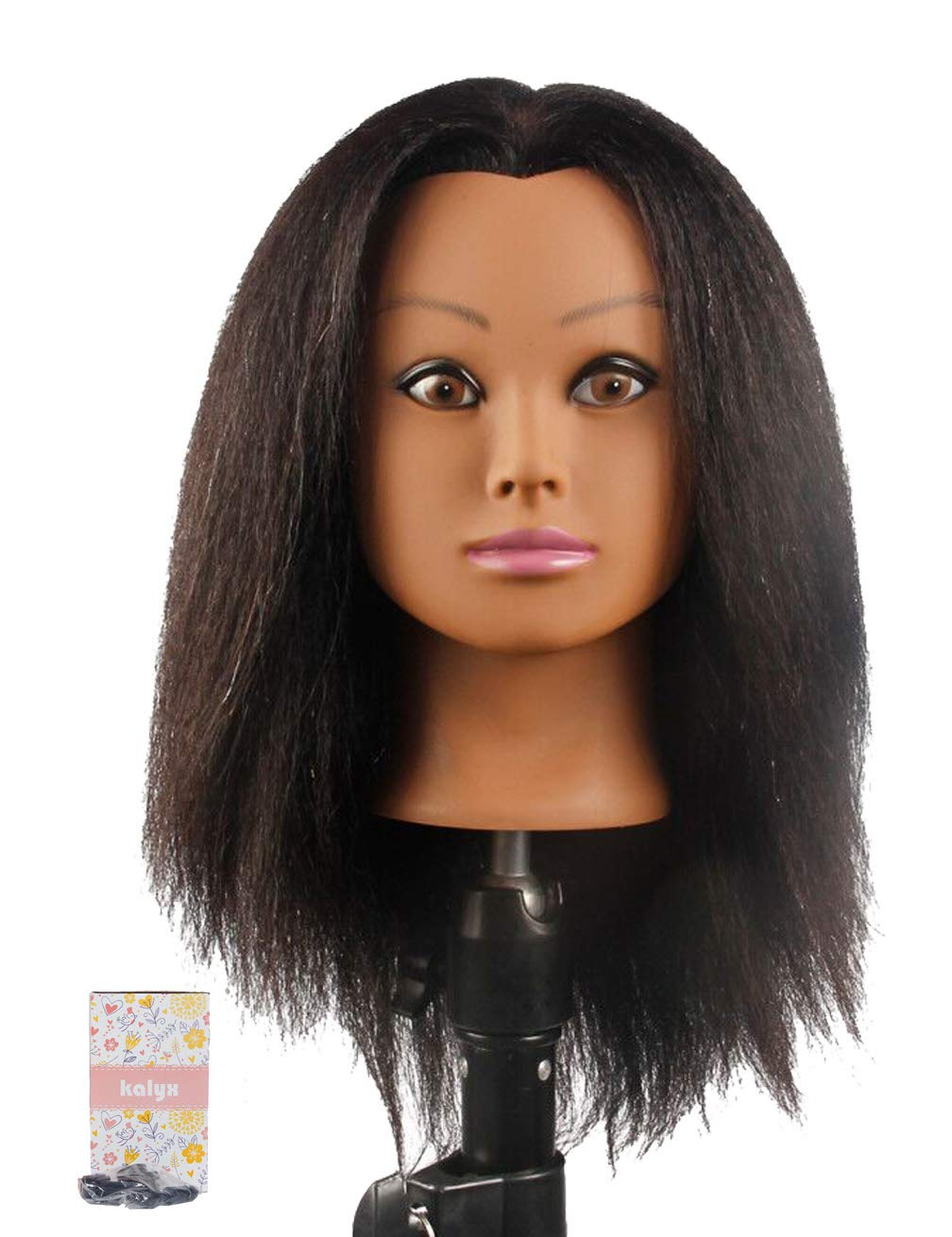 Kalyx African Mannequin Head Real Hair for Cosmetology Manikin Maniquins Hairdresser Practice Training Head Doll Head and Table Clamp Stand(B12) by Kalyx