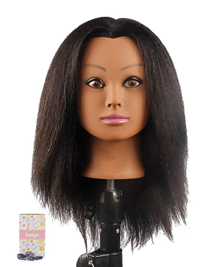 Amazon Com Kalyx African Mannequin Head Real Hair For Cosmetology Manikin Maniquins Hairdresser Practice Training Head Doll Head And Table Clamp Stand B12 Beauty