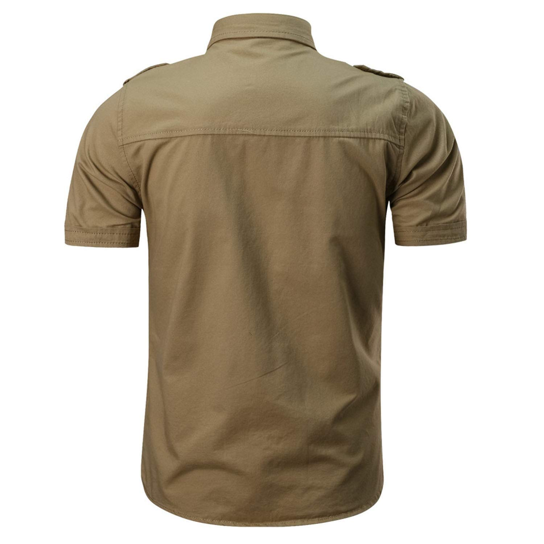 Jamais-Vu Summer Men Cotton Casual Button Shirt Slim Short Sleeve Fashion Men Shirts,C/áqui,L