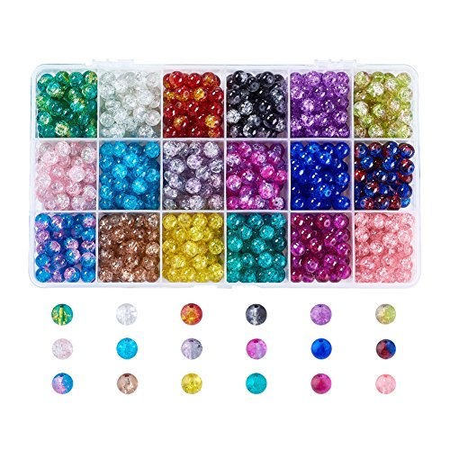 Kissitty 18 Colors 8mm Crackle Glass Lampwork Round Beads Hole: 1.3~1.6mm for Jewelry Making with (Crackle Crystal Glass Jewelry)