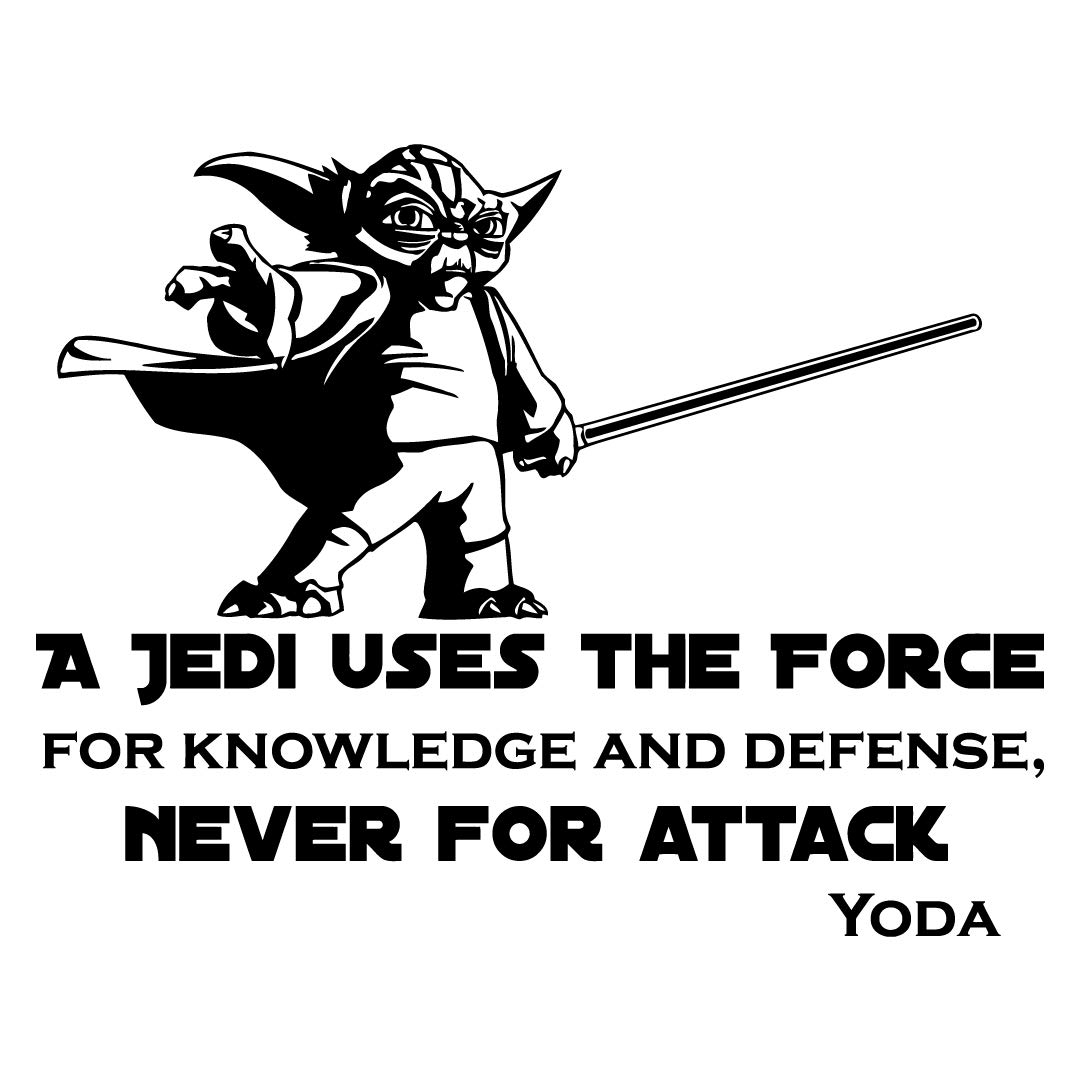 Wall Decal Quote Vinyl Sticker Star Wars Yoda Quotes A Jedi Uses The