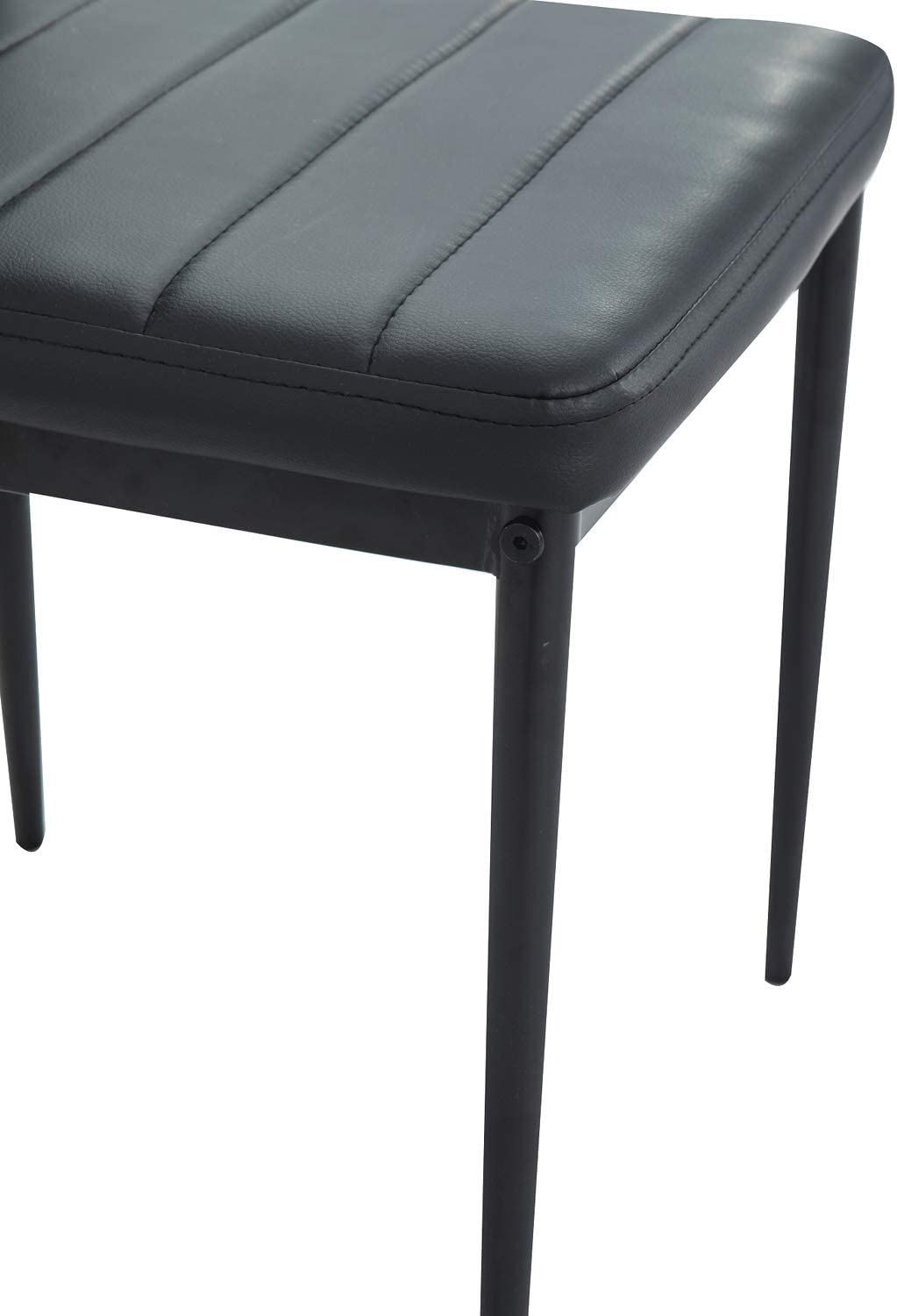 Dining Chairs Set Faux Leather Chairs Seats with High Back Soft Padded Black (Set of 4) 1.4m Mix Black Table With 4 Chairs