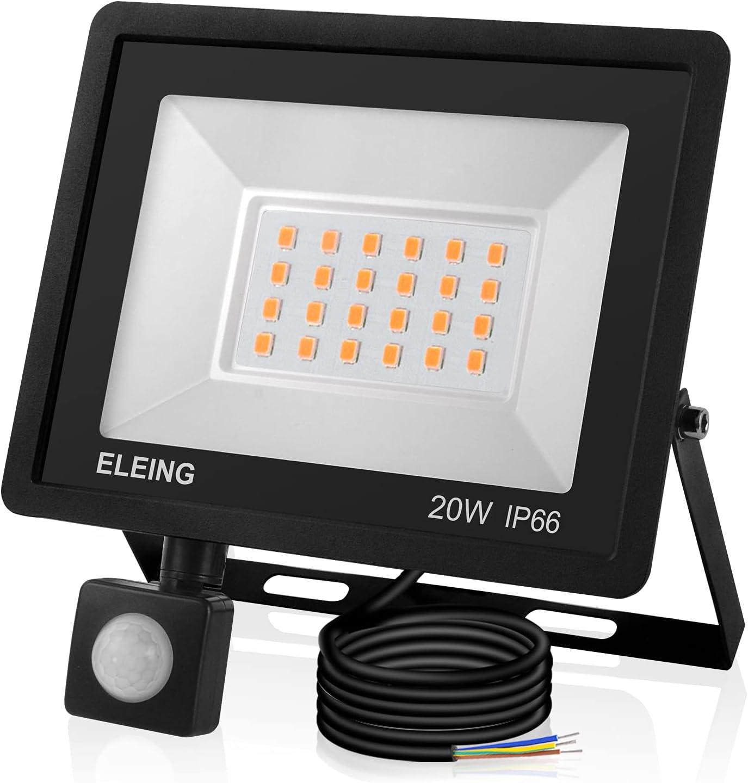 Foco LED con Sensor Movimiento, IP66 Impermeable 1600LM 6500K
