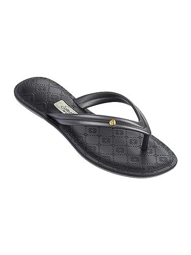 42d8b809922eda Amazon.com  Grendha Flip Flops Sense II Black and Silver  Shoes