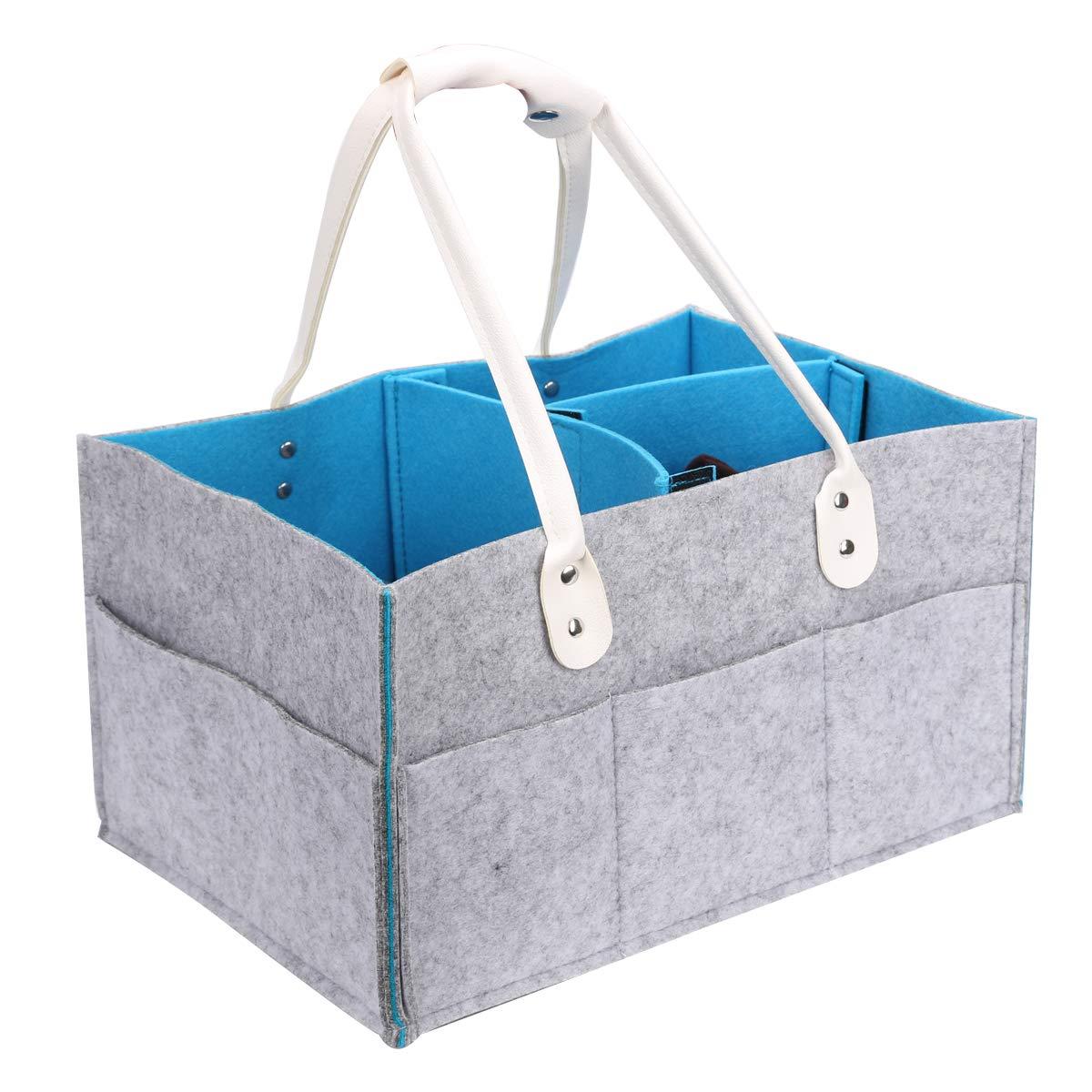 SbuyCoo Baby Diaper Caddy Organizer, Nursery Diaper Storage Bin, Wipes, and Toys, Newborn Registry Must Have, Large Portable Bin for Nursery Room